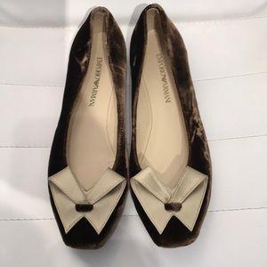 Emporio Armani Dark Brown Velvet Ballet Flats